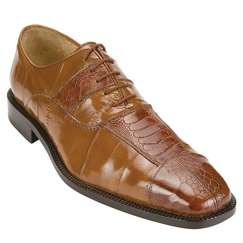 Belvedere Shoes Camel Color Silky Eel with Ostrich Skin Oxford Mare 2P7