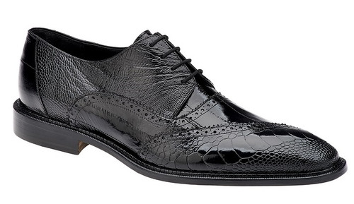 Belvedere Shoes Mens Black Ostrich Eel Lace Up Nino 0B4