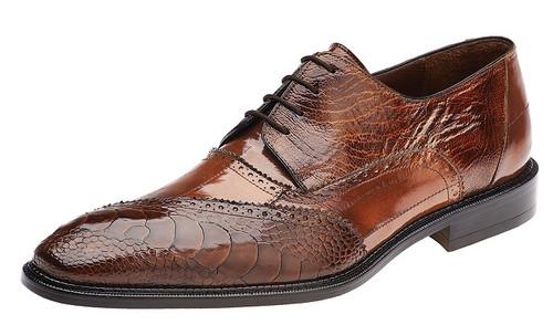 Belvedere Shoes Men's Camel Ostrich Leg Skin Eel Brogue Nino 0B4