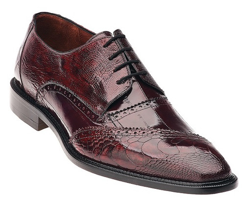 Belvedere Shoes Men's Dark Red Ostrich Paw Oxford Nino 0B4