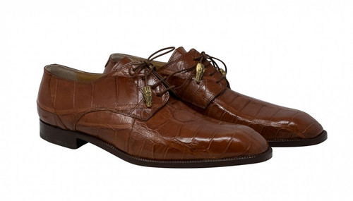 Mauri Alligator Shoes Dark Cognac Derby Lace Up 3046 Earth