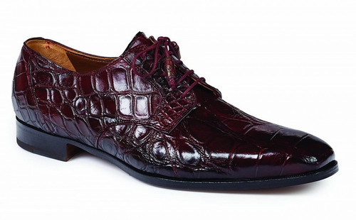 Mauri of Italy Mens Burgundy Red Alligator Shoes Lace Up 1059