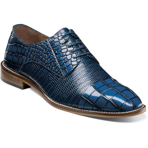 Stacy Adams Shoes Blue Crocodile Texture Leather 25321-400