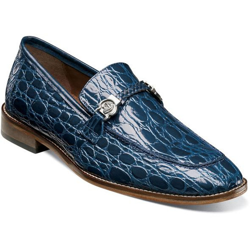 Stacy Adams Blue Crocodile Belly Texture Loafers 25322-400 IS