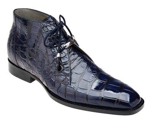 Belvedere Navy Blue Alligator Ankle Boots Stefano
