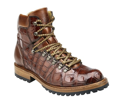 Belvedere Tan Alligator Hiking Boots Damian