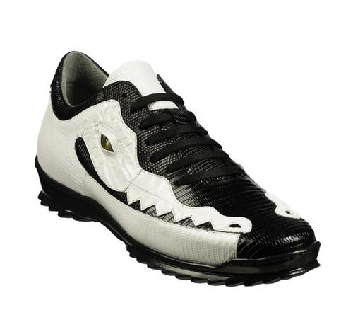 Belvedere Men's Crocodile Lizard Exotic Sneakers Black White Y21 Olaf