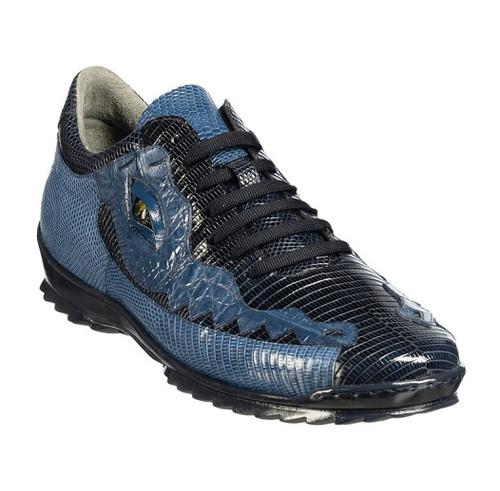 Belvedere Men's Crocodile Lizard Exotic Sneakers Navy Blue Y21 Olaf