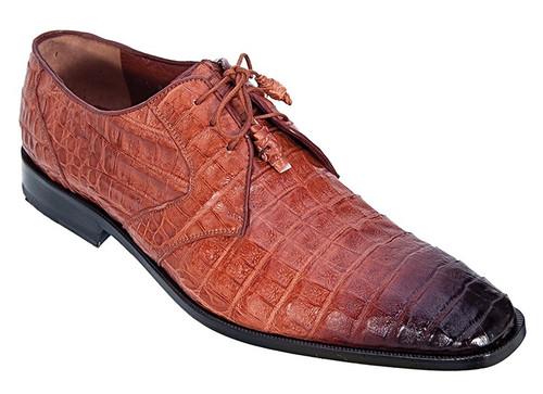 Los Altos Men's Cognac Crocodile Shoes Italian Toe ZV088257