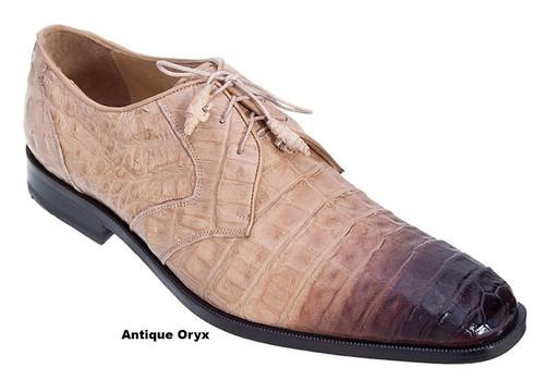 Los Altos Men's Tan Crocodile Shoes Italian Toe ZV088215