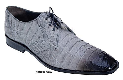 Los Altos Men's Gray Crocodile Shoes Italian Toe ZV088238