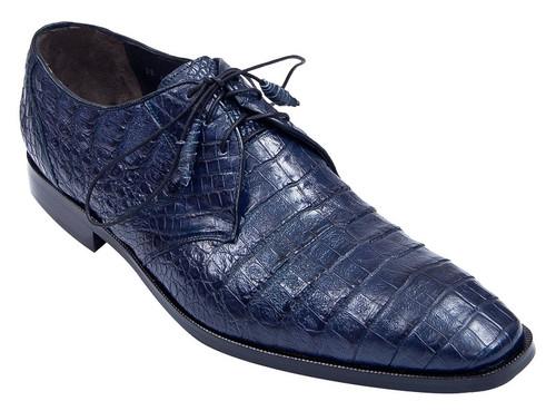 Los Altos Men's Navy Blue Crocodile Shoes Italian Toe ZV088210