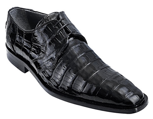 Los Altos Men's Black Crocodile Shoes Italian Toe ZV088205