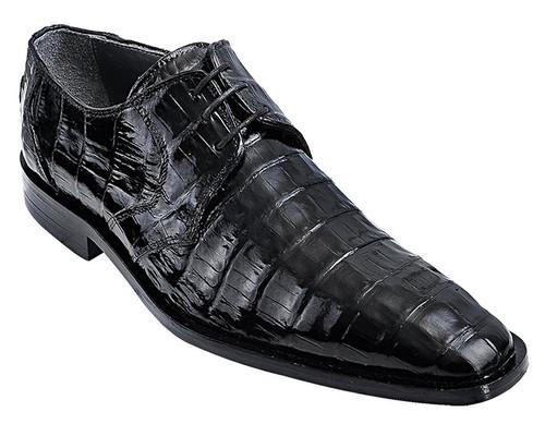 Los Altos Men's Black Crocodile Shoes Italian Toe ZV088205