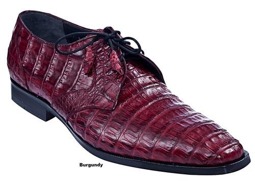 Los Altos Men's Burgundy Crocodile Shoes Italian Toe ZV088206
