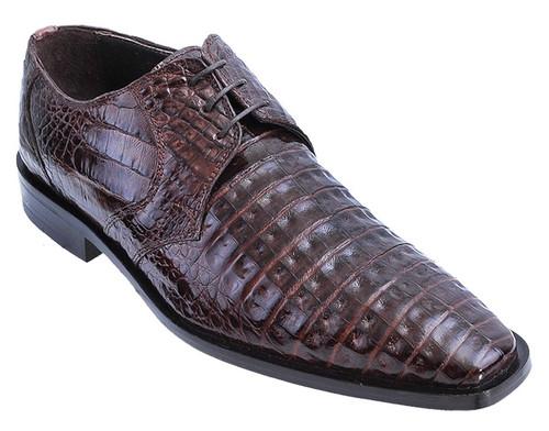 Los Altos Men's Brown Crocodile Shoes Italian Toe ZV088207