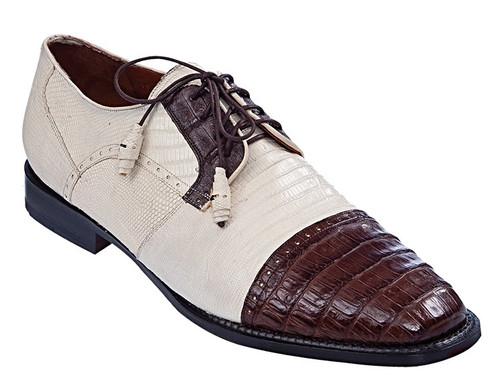 Los Altos Men's Ivory Brown Crocodile Shoes Cap Toe ZV093767