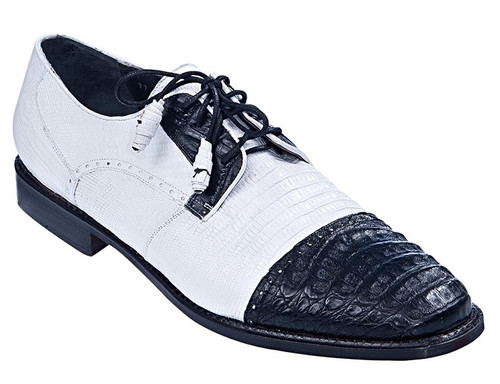 Los Altos Men's Black and White Crocodile Shoes Cap Toe