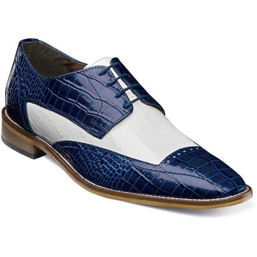 Stacy Adams Blue White Alligator Texture Wingtip Leather 25366-460 IS