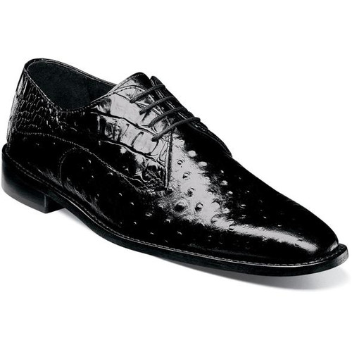 Stacy Adams Black Ostrich Print Leather Shoes 25273-001