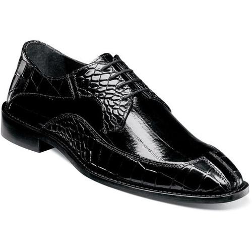 Stacy Adams Black Unique Split Toe Leather Shoes 25318-001 IS