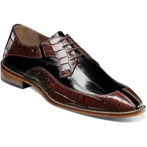 Stacy Adams Burgundy Black Alligator Split Toe Shoes 25318-641