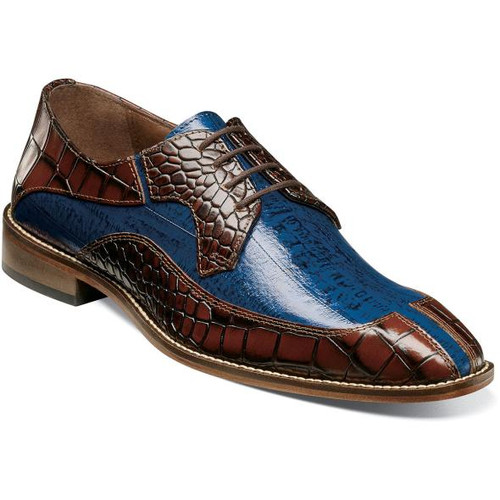 Stacy Adams Cognac Blue Alligator Split Toe Shoes 25318-229