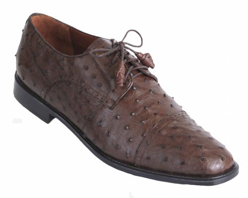 Los Altos Brown Ostrich Cap Toe Shoe ZV090307
