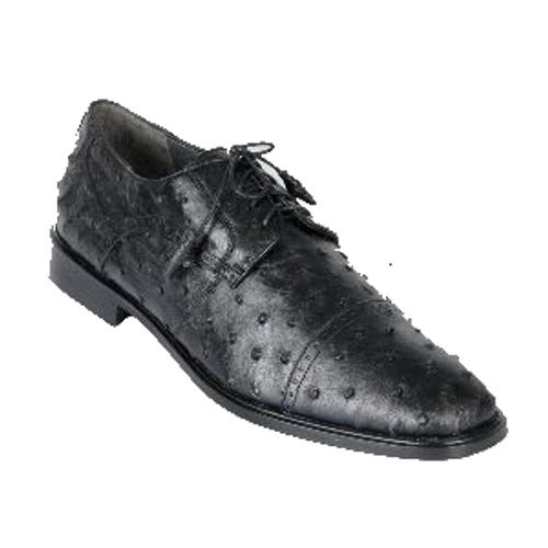 Los Altos Black Ostrich Cap Toe Shoe ZV090305