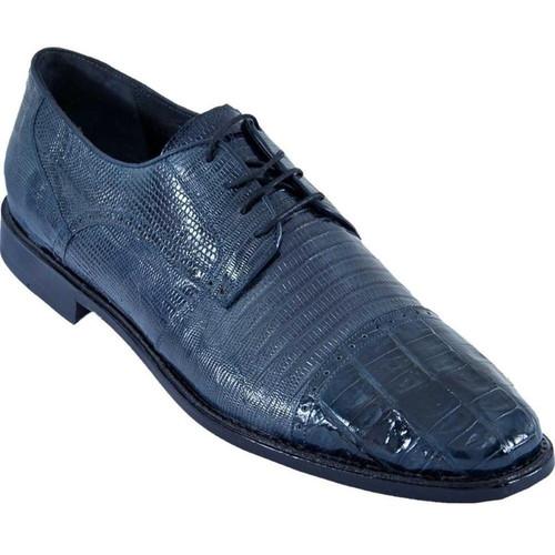 Los Altos Navy Blue Lizard Crocodile Cap Toe Shoes ZV093710