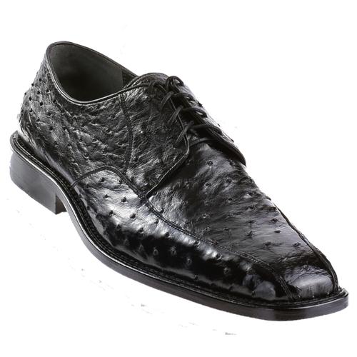 Los Altos Black Ostrich Skin Bike Toe Dress Shoes ZV030305