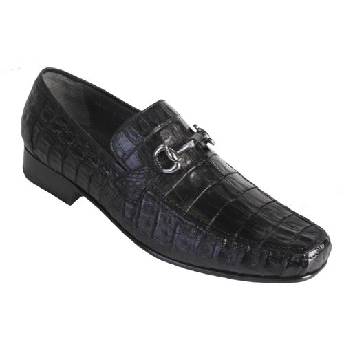 Los Altos Black Crocodile Metal Bit Loafers ZV108205