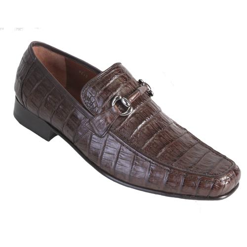 Los Altos Brown Crocodile Metal Bit Loafers ZV108207