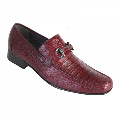 Los Altos Burgundy Crocodile Metal Bit Loafers ZV108206