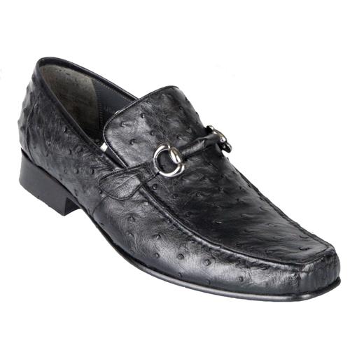 Los Altos Black Ostrich Skin Metal Bit Loafers ZV100305