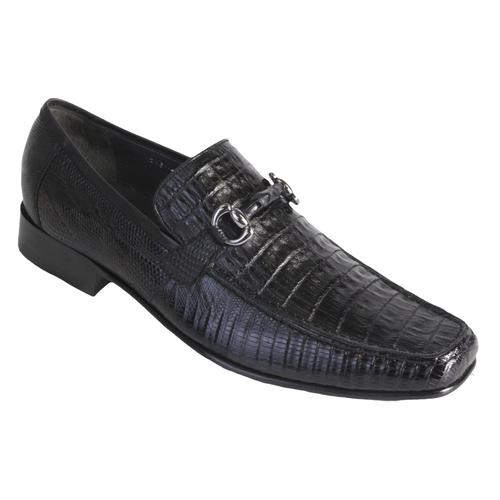 Los Altos Black Crocodile Lizard Metal Bit Loafers ZV103705