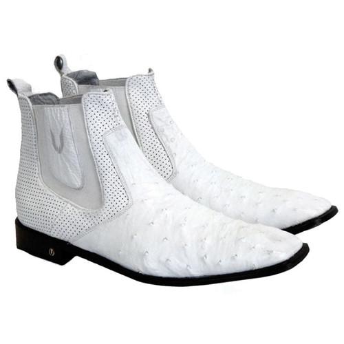 Mens's White  Ostrich Chelsea Boot Vestigium 7BV010328