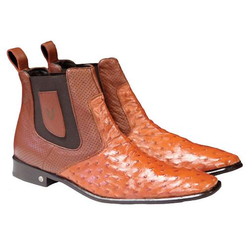 Mens's Cognac Rust Ostrich Chelsea Boot Vestigium 7BV010303
