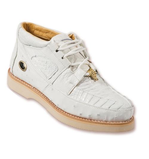 Los Altos White Crocodile Ostrich Ankle Boot ZA050228