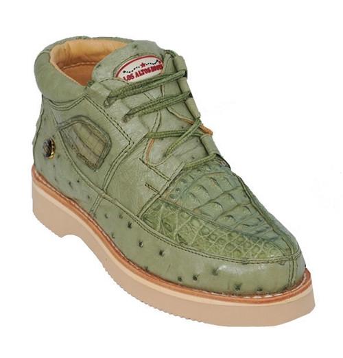 Los Altos Olive Green Crocodile Ostrich Ankle Boot ZA050248
