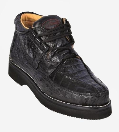 Los Altos Black Crocodile Ostrich Ankle Boot ZA050205