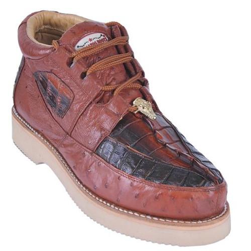 Los Altos Cognac Black Crocodile Ostrich Casual Ankle Boot ZA050258