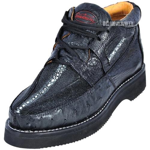 Los Altos Black Stingray Ostrich Casual Ankle Boot ZA0511105