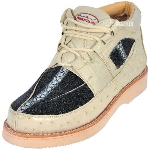 Los Altos Cream Black Stingray Ostrich Casual Ankle Boot ZA101105