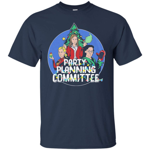 22nd Century Party Planning Committee The Office Christmas Baseball Long Sleeve T-Shirt (T-shirt; Navy; XX-Large)
