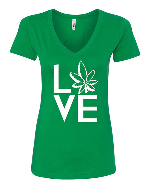 420 Weed Shirts i Love Weed Women's V-Neck T-Shirt