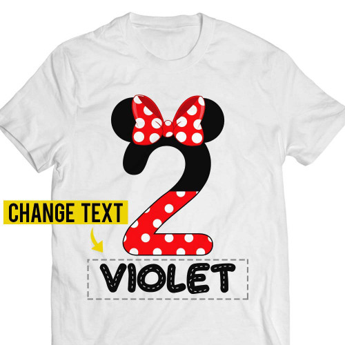 2nd-Birthday Violet Mouse Two-Years-Old Red-Bow-Girly-Princess-Girl Customized Handmade T-shirt/Hoodie/Sweater/Long Sleeve/Tank Top/Premium T-shirt