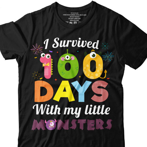 I-Survived 100-Days With-My-Little Monsters Teacher-Student T-shirt Customized Handmade/Hoodie/Sweater/Long Sleeve/Tank Top/Premium T-shirt