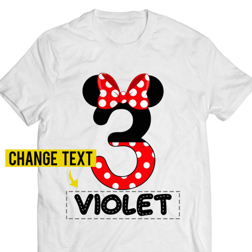 3rd-Birthday Minnie-Violet Mouse Three-Years-Old Red-Bow-Girly-Princess-Girl Customized Handmade T-shirt/Hoodie/Sweater/Long Sleeve/Tank Top/Premium T-shirt
