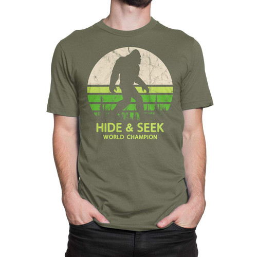 Clothing Hide and Seek World Champion Bigfoot is Real T-Shirt 6968